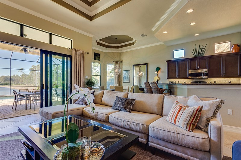 living room of pet friendly condo in lely resort.