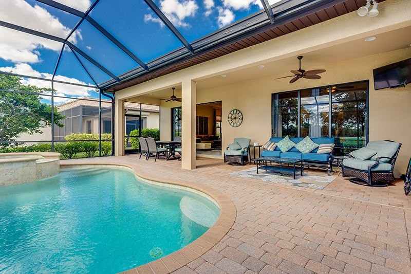 outdoor seating area with pools