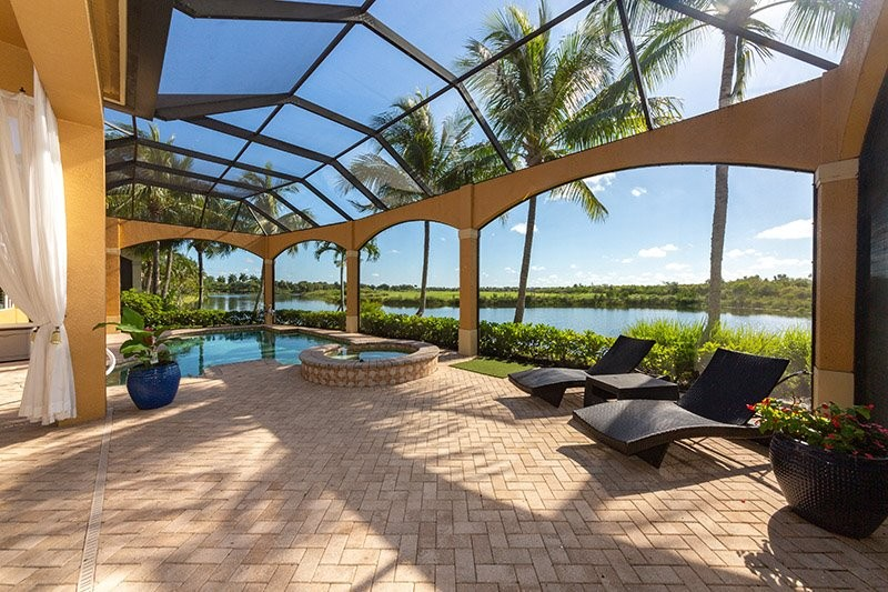 pool home on the waterway