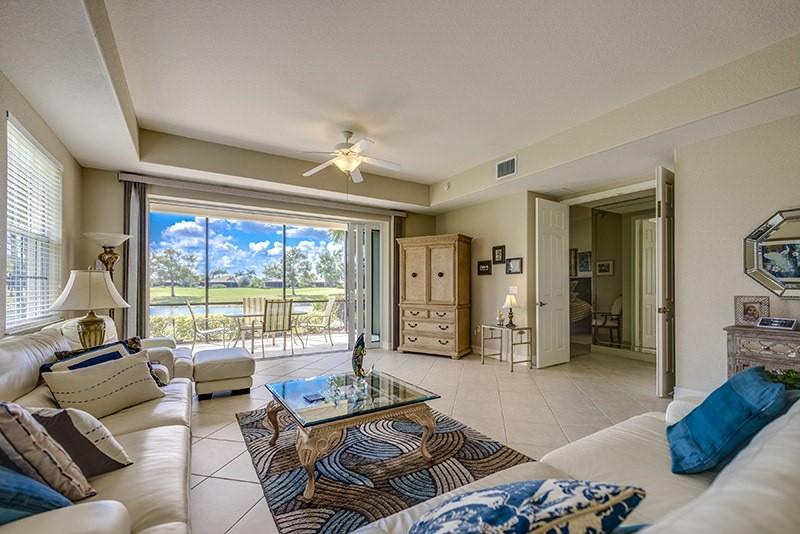 view of lely resort golf course from the living room