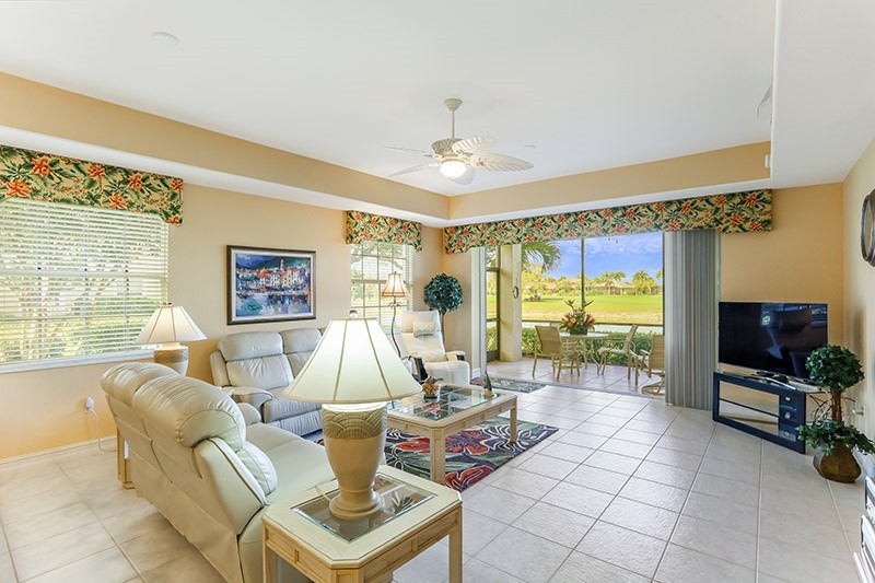 Beautiful comfortable living room in our lely resort rental
